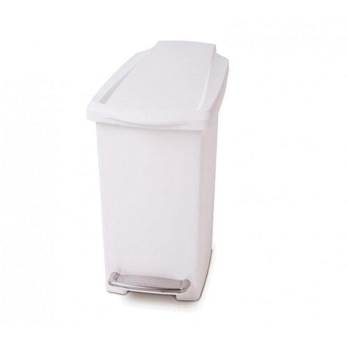 Simplehuman Slim Design Plastic Bathroom Bin 10L Pedal Operated White CW1332