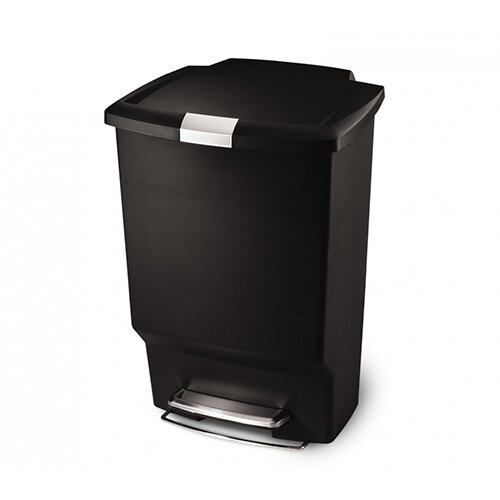 Simplehuman Rectangular Plastic Bin 45L Pedal Operated Black CW1371