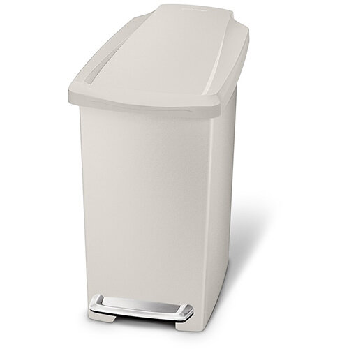 Simplehuman Slim Design Plastic Bathroom Bin 10L Pedal Operated Stone CW1383