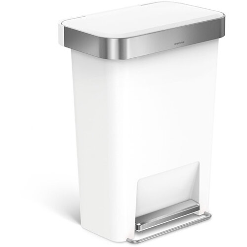Simplehuman Rectangular Plastic Bin 45L Pedal Operated White With Liner Pocket CW1387CB