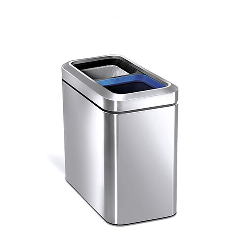 Simplehuman Slim Design Recycler Steel Bin Dual Compartment 20L (2x10L) Open Top Brushed Stainless Steel CW1470