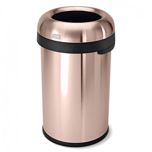 Simplehuman Round Heavy Gauge Steel Bin 80L Bullet Open Top Rose Gold Steel CW1480