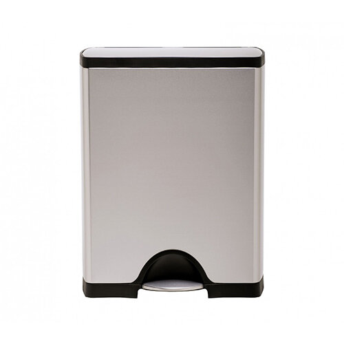 Simplehuman Rectangular Recycler Steel Bin Dual Compartment 46L (30L &16L) Pedal Operated Brushed Stainless Steel CW1830