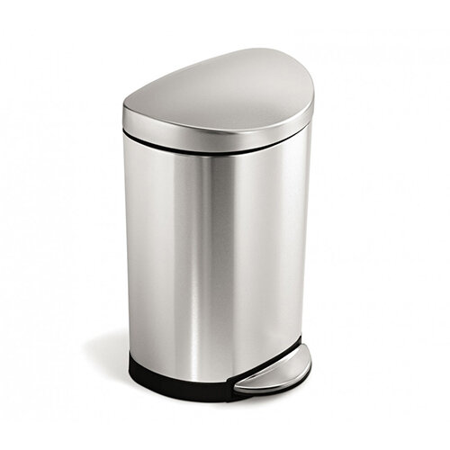 Simplehuman Semi-Round Bathroom Bin 10L Pedal Operated Brushed Stainless Steel CW1833