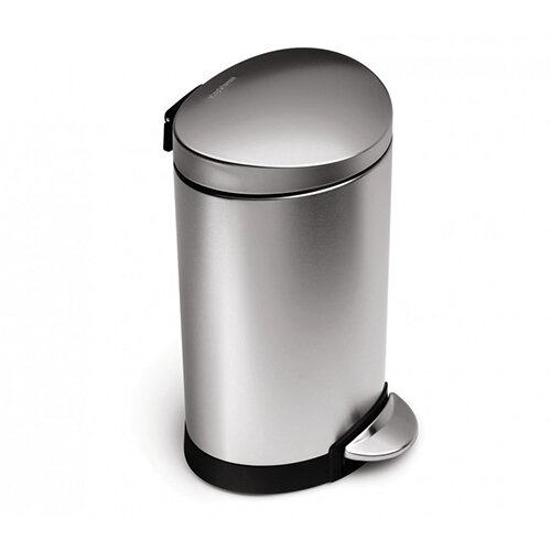 Simplehuman Semi-Round Bathroom Bin 6L Pedal Operated Brushed Stainless Steel CW1834CB