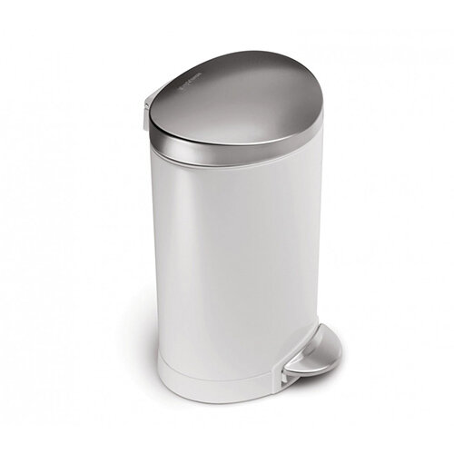 Simplehuman Semi-Round Steel Bin 6L Pedal Operated White Steel With Brushed Steel Lid &Pedal CW1835CB