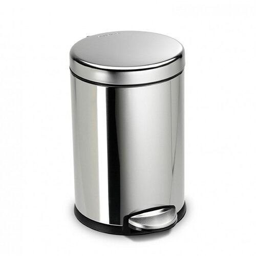 Simplehuman Round Bathroom Bin 4.5L Pedal Operated Polished Stainless Steel CW1851CB