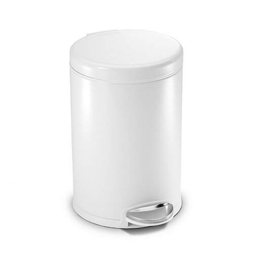 Simplehuman Round Bathroom Bin 3L Pedal Operated White Steel CW1856CB