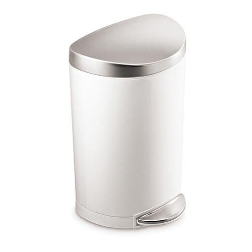 Simplehuman Semi-Round Bathroom Bin 10L Pedal Operated White With Brushed Steel Lid &Pedal CW1867