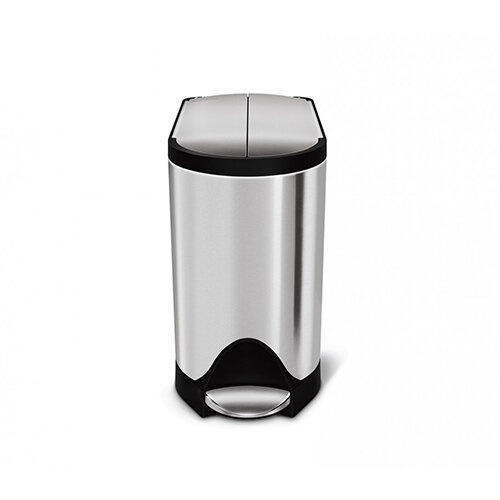 Simplehuman Bathroom Bin 10L Pedal Operated Brushed Stainless Steel With Butterfly Lid CW1899