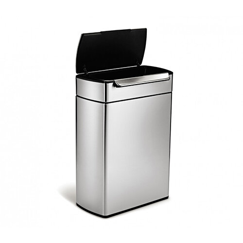 Simplehuman Rectangular Recycler Steel Bin Dual Compartment 48L (2x24L) Touch Bar Operated Brushed Stainless Steel CW2018