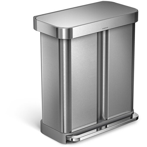 Simplehuman Rectangular Steel Bin Dual Compartment 58L (34L &24L) Pedal Operated Brushed Stainless Steel With Liner Pocket CW2025