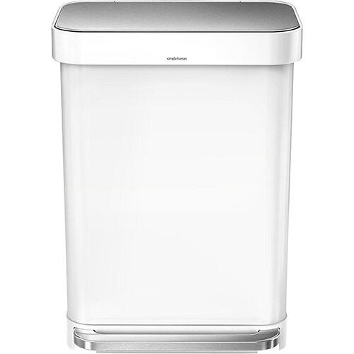 Simplehuman Rectangular Steel Bin 55L Pedal Operated White Steel CW2026
