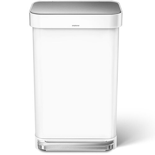 Simplehuman Rectangular Steel Bin 45L Pedal Operated White Steel CW2027