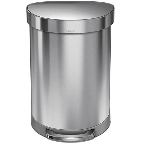 Simplehuman Semi-Round Steel Bin 60L Pedal Operated Brushed Stainless Steel With Liner Rim CW2029