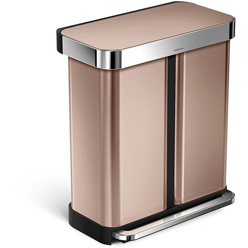 Simplehuman Rectangular Steel Bin Dual Compartment 58L (34L &24L) Pedal Operated Rose Gold Steel With Liner Pocket CW2035