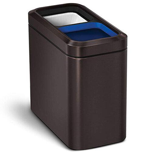 Simplehuman Slim Design Recycler Steel Bin Dual Compartment 20L (2x10L) Open Top Dark Bronze Steel CW2037