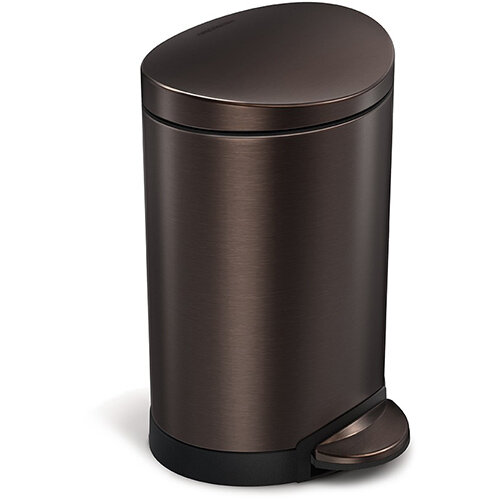 Simplehuman Semi-Round Bathroom Bin 6L Pedal Operated Dark Bronze Steel CW2038