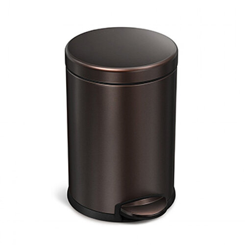 Simplehuman Round Bathroom Bin 4.5L Pedal Operated Dark Bronze Steel CW2040