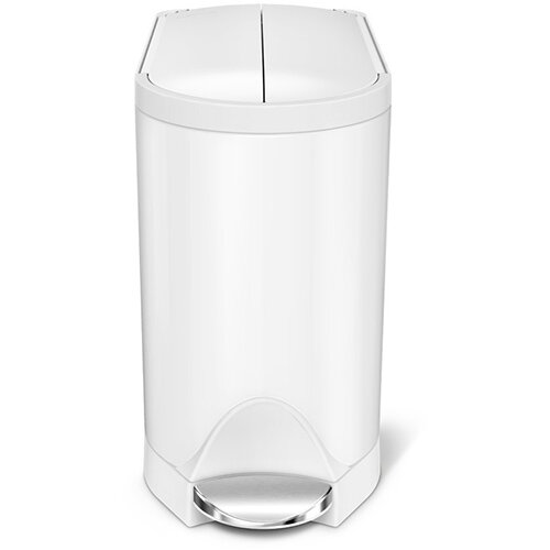 Simplehuman Bathroom Bin 10L Pedal Operated White Steel With Butterfly Lid CW2042