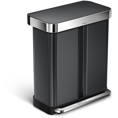 Simplehuman Rectangular Steel Bin Dual Compartment 58L (34L &24L) Pedal Operated Black Stainless Steel With Liner Pocket CW2054