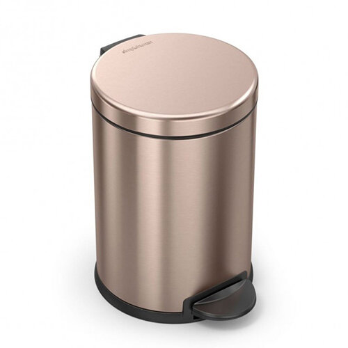 Simplehuman Round Steel Bin 4.5L Pedal Operated Rose Gold Steel CW2056