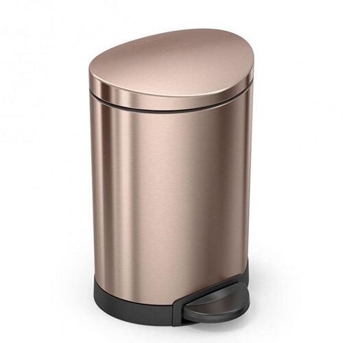 Simplehuman Semi-Round Bathroom Bin 6L Pedal Operated Rose Gold Steel CW2057