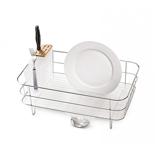 Simplehuman Slim Wire Frame Dishrack Brushed Steel &Frosted Plastic KT1107