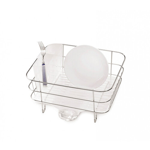 Simplehuman Compact Wire Frame Dishrack Brushed Steel &Frosted Plastic KT1130