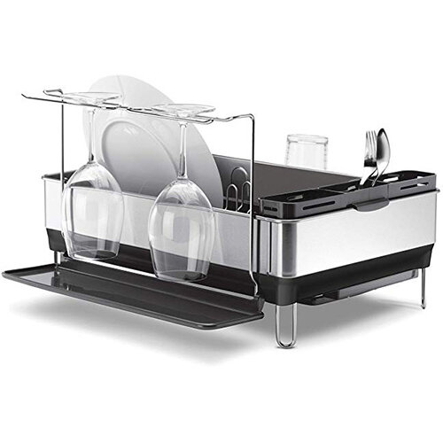 Simplehuman Steel Frame Dishrack Brushed Steel &Grey Plastic KT1154