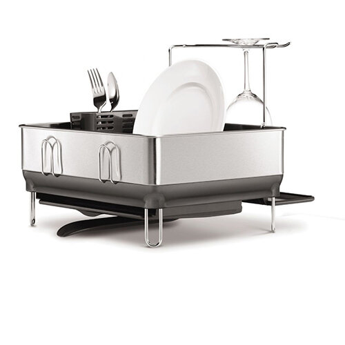Simplehuman Steel Frame Compact Dishrack Brushed Steel &Grey Plastic KT1168