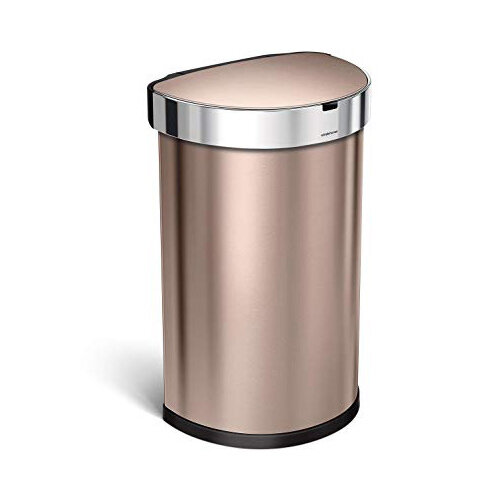 Simplehuman Semi-Round Sensor Bin 45L Rose Gold Steel for Use With 4 AA Batteries (Included) ST2012
