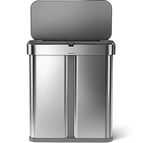 Simplehuman Rectangular Sensor Bin Dual Compartment 58L With Voice &Motion Control Brushed Stainless Steel for Use With Power Adapter (Included) or 4 AA Batteries (Not Included) ST2015