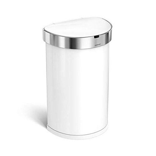 Simplehuman Semi-Round Sensor Bin 45L White Steel for Use With 4 AA Batteries (Included) ST2018