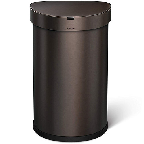 Simplehuman Semi-Round Sensor Bin 45L Dark Bronze Steel for Use With 4 AA Batteries (Included) ST2019