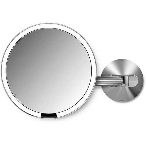 Simplehuman Wall Mountable Sensor Mirror Dia. 20cm 5x Magnification Stainless Steel Rechargeable ST3002