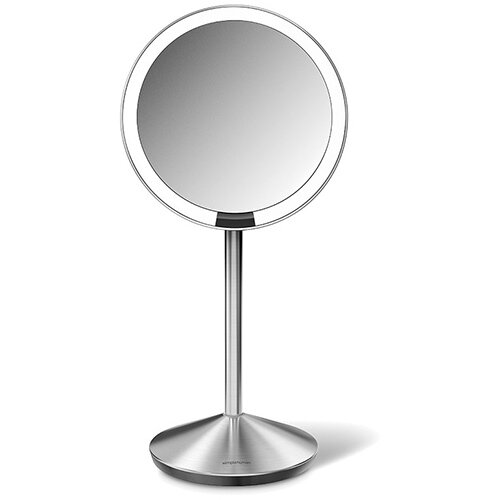 Simplehuman Free Standing Sensor Mirror With Travel Case Dia. 12cm 10x Magnification Stainless Steel Rechargeable ST3004