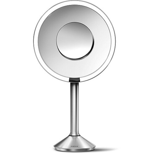 Simplehuman Free Standing Sensor Mirror PRO Dia. 20cm 5x Magnification &10x Magnification Detail Mirror Stainless Steel Rechargeable, Wi-fi Enabled ST3007
