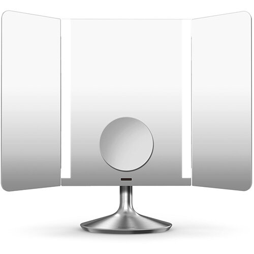 Simplehuman Free Standing Wide View Sensor Mirror PRO  40.5cm 1x Magnification &10x Magnification Detail Mirror Stainless Steel Rechargeable, Wi-fi Enabled ST3014