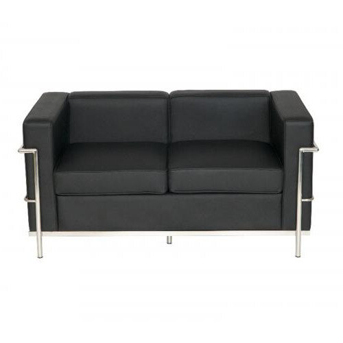 Korby Two Seater Executive Sofa Black Faux Leather
