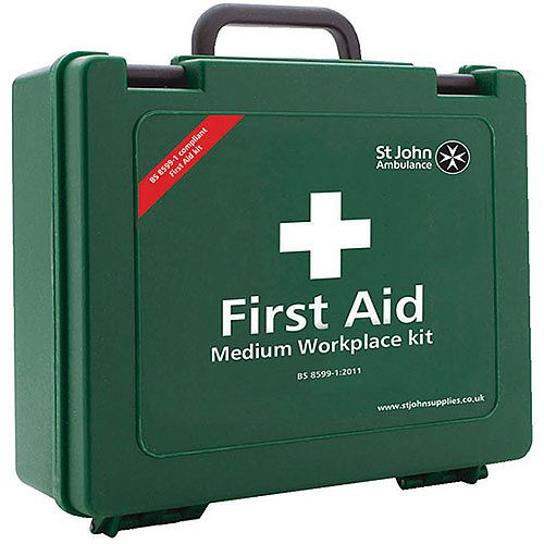 St John Ambulance Workplace First Aid Kit – High Quality, BS-8599-1:2011, Suitable For Work Environment, Durable, Wall Bracket, Carry Handle &Medium Size For 25-50 Person (F30608)