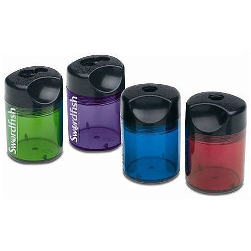 Swordfish Pencil Sharpener Canister Double-Hole Assorted 40012 40033