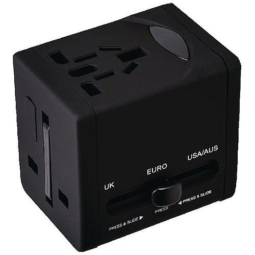 Snopake VariPlug Universal Travel Adapter USB Output Black