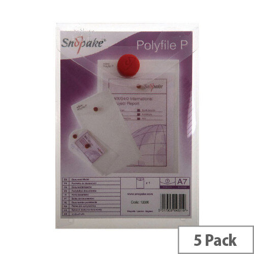 Snopake Polyfile Wallet A7 Clear 5 Pack 13306