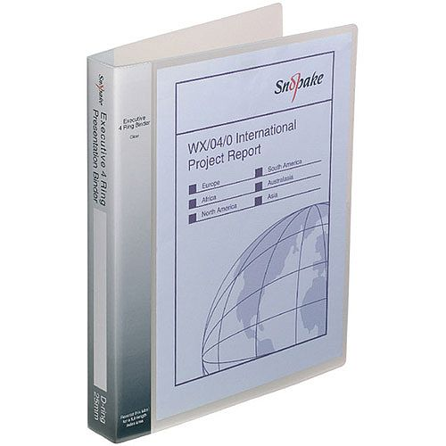 Snopake Executive Presentation 4D-Ring Binder A4 Clear 13386