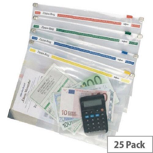 Snopake Zippa Bag 355x235 Assorted Pack of 25 11463