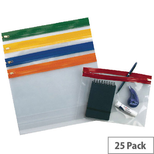 Snopake Zippa Bag A5 Assorted Pack of 25 12722