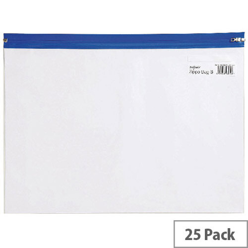 Snopake Zippa Bag A4 Blue Pack 25 12736