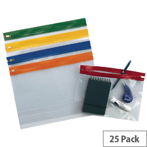 Snopake Zippa Bag A4 Plus Plus Assorted Pack of 25 12821