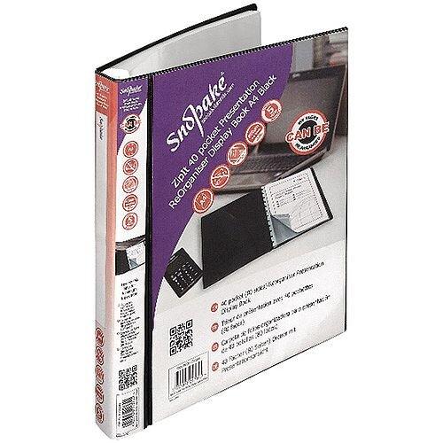 Snopake ZipIt ReOrganiser 40 Pocket Black Presentation Display Book 15780